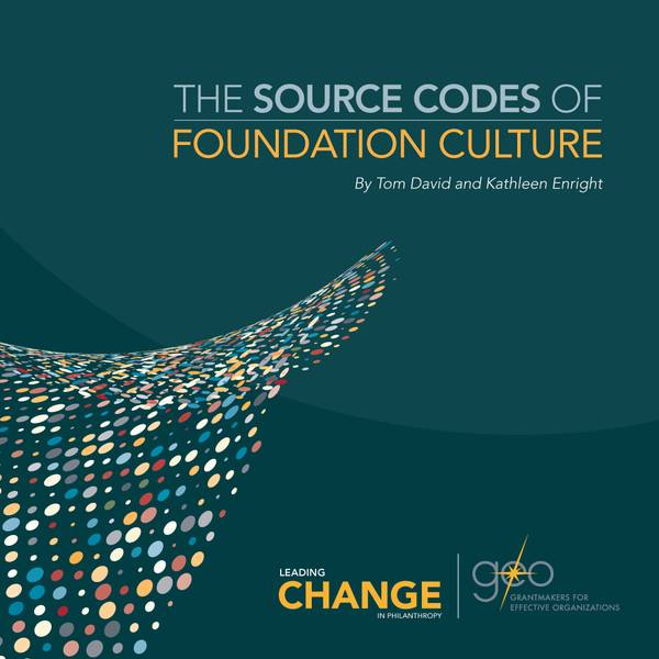 "This cover has a wave of subdued, multicolor dots from the left side to the upper right. The title reads, ""The Source Codes of Foundation Culture."""