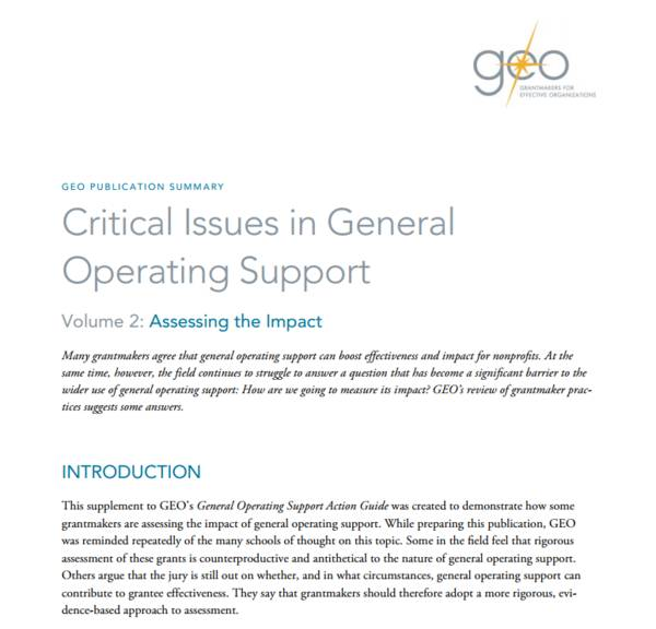 "This cover is a Word document. The title reads, ""GEO Publication Summary: Critical Issues in General Operating Support. Volume 2: Assessing the Impact""."