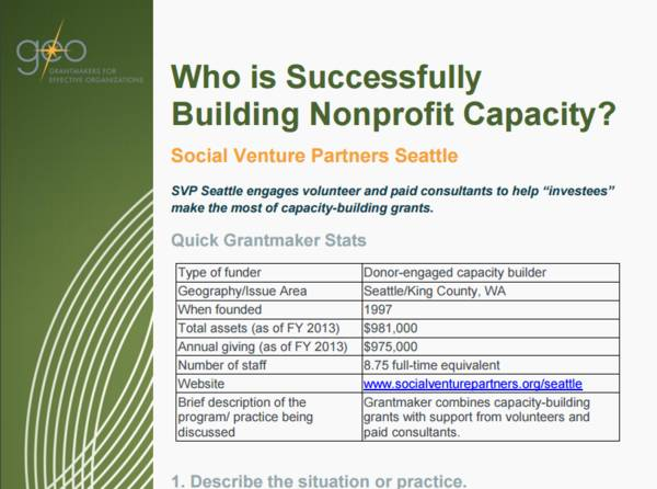 Who is Successfully Building Nonprofit Capacity? Social