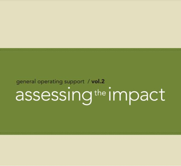 "This cover has a cream background with a green bar across the middle. The title reads, ""General Operating Support Vol 2: Assessing the Impact""."