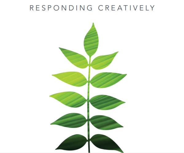 "This publication has a cream color with a green leaf design. The title reads, ""Responding Creatively: Grantmakers for Effective Organizations Annual Report 2009""."