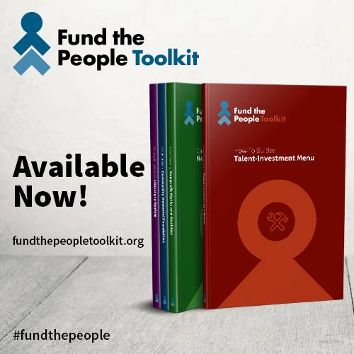 This is an image of the Fund the People Toolkit. It features several books on different topics around funding the nonprofit workforce.