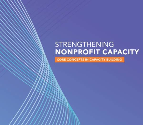 "This publication cover is purple with a light blue design on the left side. The title of the publication reads, ""Strengthening Nonprofit Capacity: Core Concepts in Capacity Building""."
