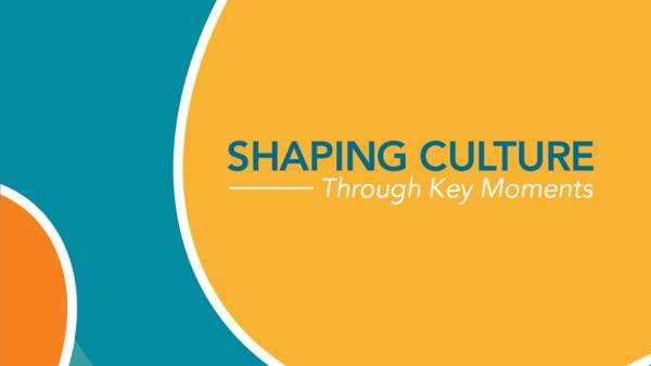 "This cover has overlapping light blue, orange, marigold and dark blue circles. The title of the publication is, ""Shaping Culture through Key Moments."""